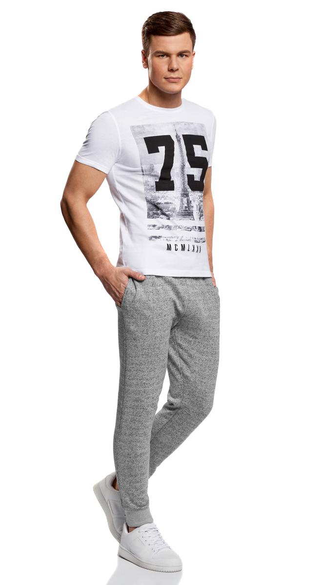 Брюки спортивные мужские oodji Lab, цвет: серый меланж. 5L200013M/46295N/2300M. Размер M (50) брюки спортивные мужские quiksilver цвет темно серый меланж eqyfb03059 ktfh размер m 48