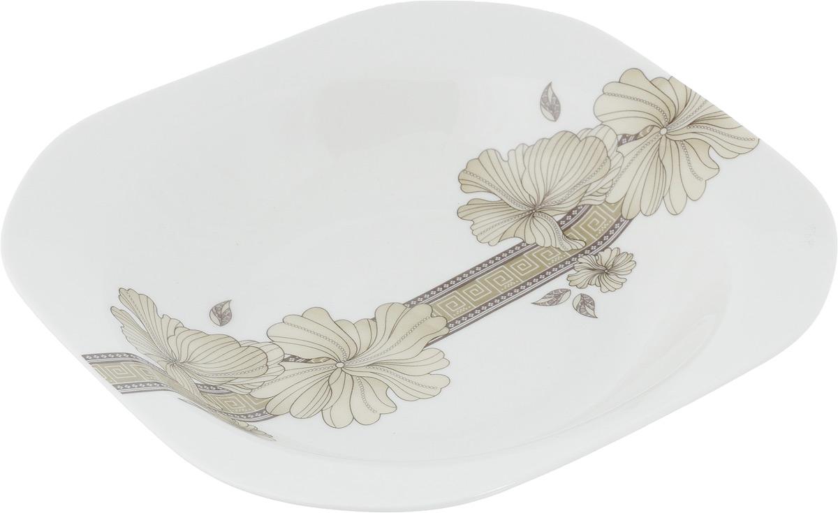 Тарелка суповая София, 19,5 х 19,5 см216703Суповая тарелка София, изготовленная из фарфора с глазурованным покрытием, декорирована цветочным орнаментом. Такая тарелка украсит сервировку вашего стола и подчеркнет прекрасный вкус хозяина, а также станет отличным подарком. Размер тарелки: 19,5 х 19,5 см.