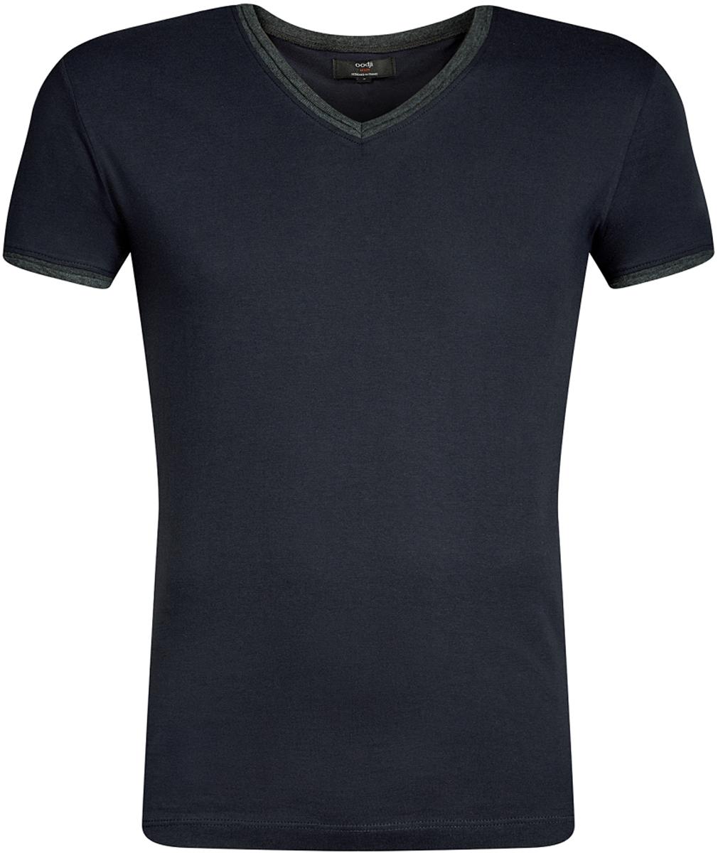 Футболка мужская oodji Lab, цвет: темно-синий, темно-серый. 5L612017M/39485N/7925B. Размер L (52/54)5L612017M/39485N/7925BСтильная футболка от oodji с V-образным вырезом и короткими рукавами выполнена из натурального хлопка. Модель декорирована контрастной отделкой.