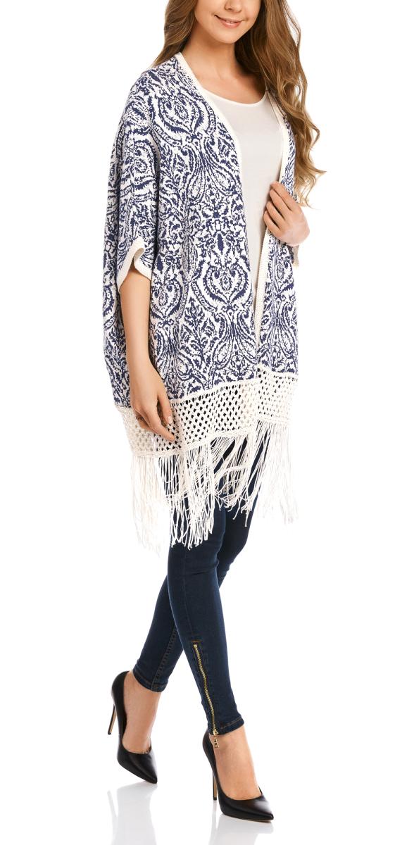 Кардиган женский oodji Collection, цвет: белый, темно-синий. 73212394/45587/1279E. Размер M (46) юбка oodji collection цвет темно синий 24100022 1b 35477 7900n размер m 46