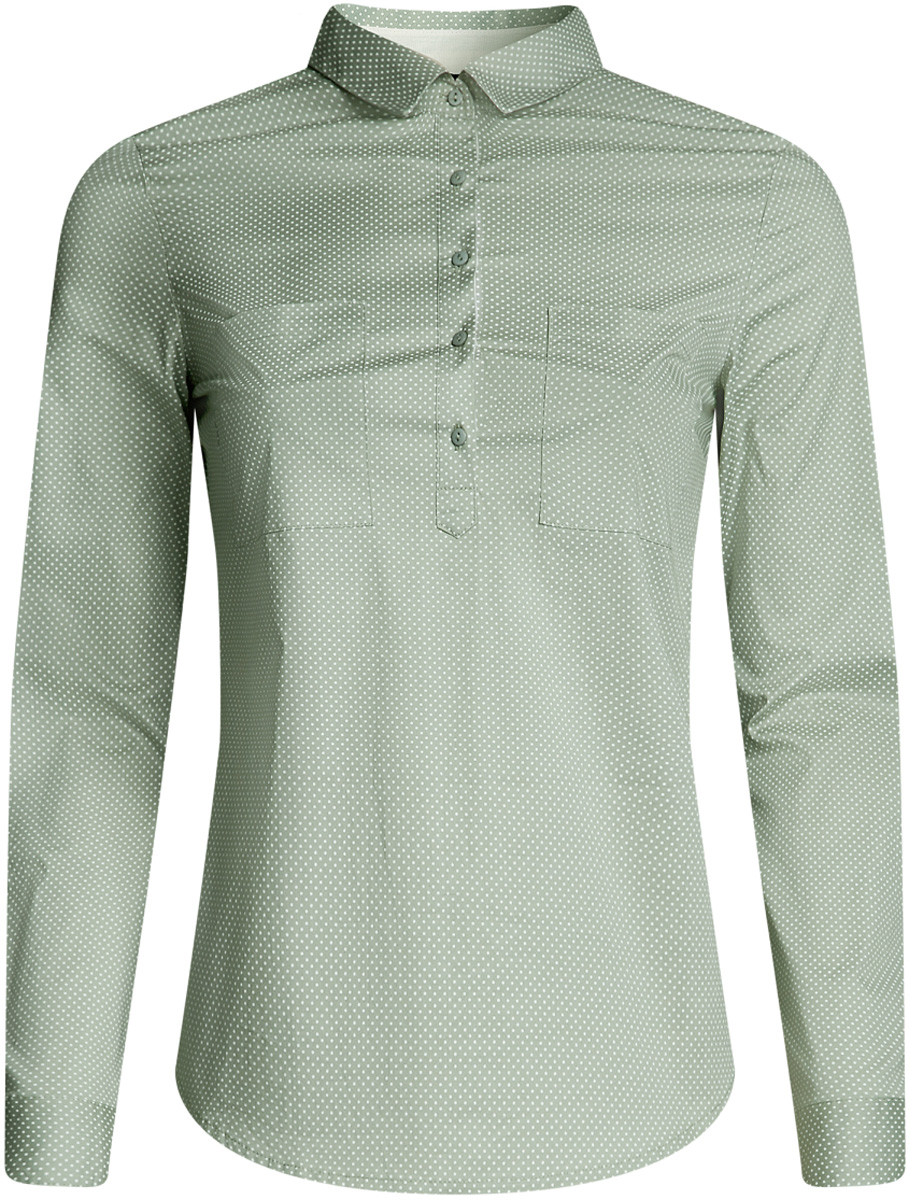 Рубашка женская oodji Ultra, цвет: хаки, белый. 11403222B/42468/6612D. Размер 44-170 (50-170)