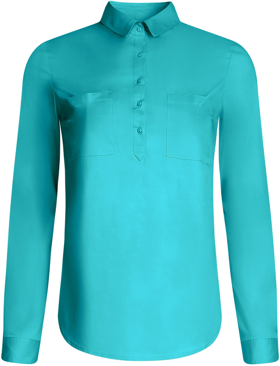 Рубашка женская oodji Ultra, цвет: бирюзовый. 11403222B/42468/7300N. Размер 38-170 (44-170)