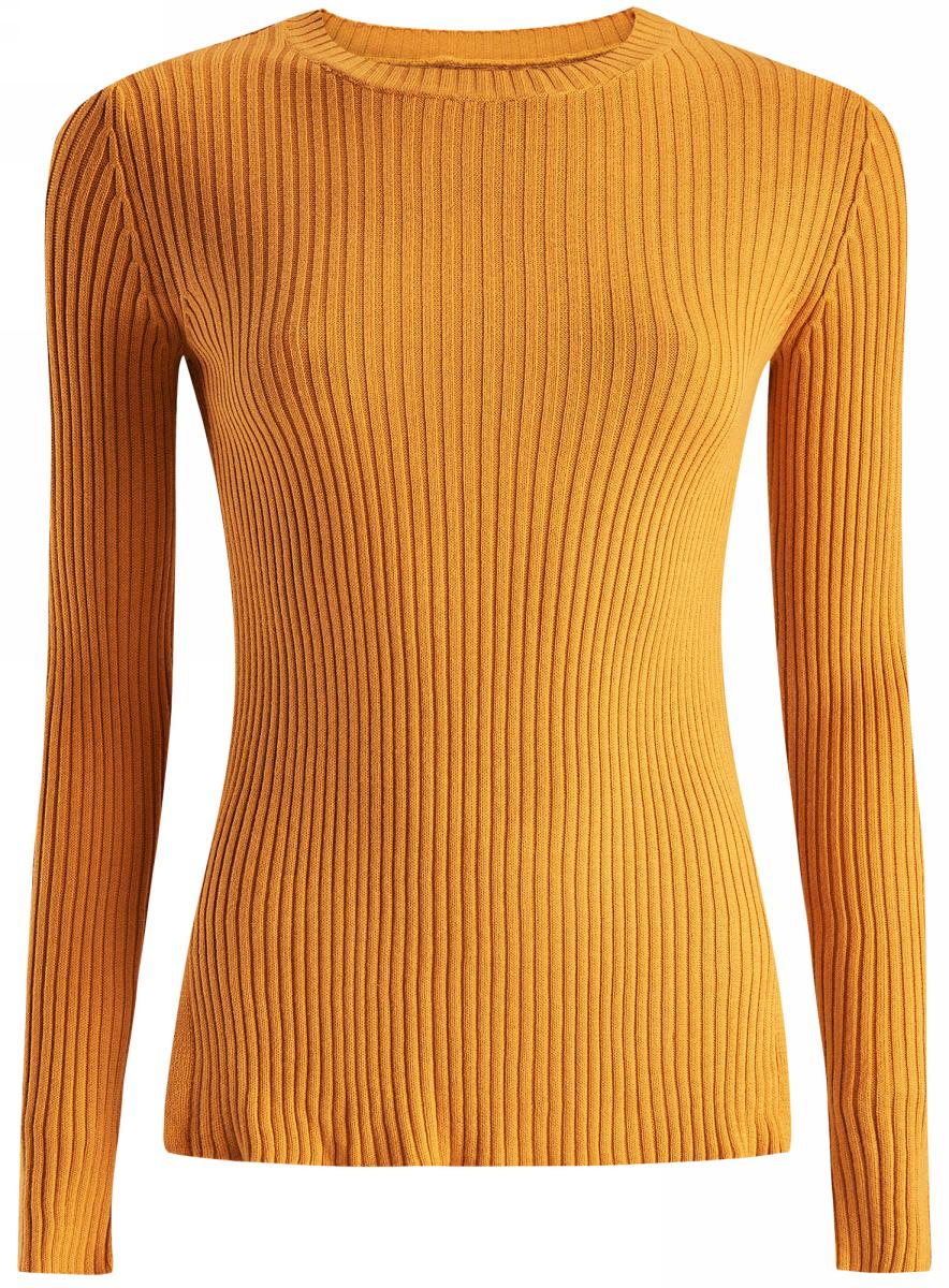 Джемпер женский oodji Ultra, цвет: желтый. 63810230/45633/5200N. Размер L (48)63810230/45633/5200NДжемпер облегающий вязаный в резинку с длинными рукавами и круглым вырезом горловины.
