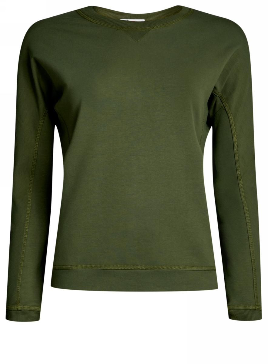 Свитшот женский oodji Ultra, цвет: темно-зеленый. 14808007B/46927/6900N. Размер XL (50)14808007B/46927/6900NСвитшот прямого силуэта с цельнокроеными длинными рукавами и круглым вырезом горловины выполнен из эластичного хлопка.