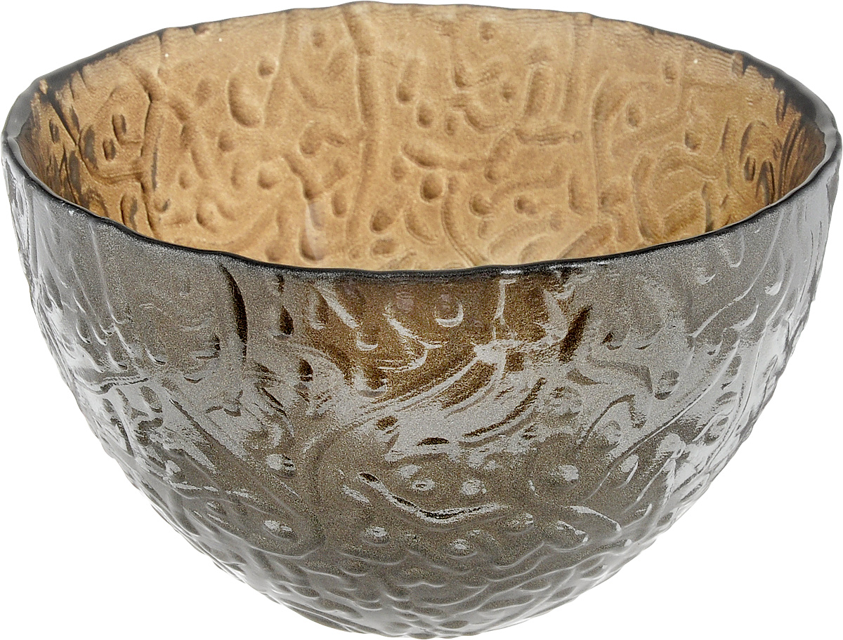 Салатник NiNaGlass Ажур, цвет: серо-золотой, диаметр 12 см салатник nina glass ажур цвет сиреневый диаметр 16 см