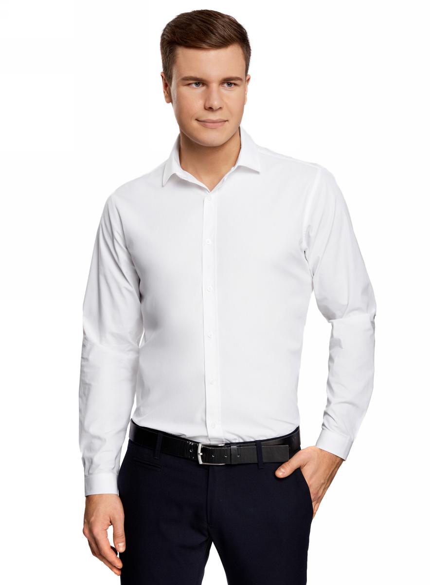 цены Рубашка мужская oodji Basic, цвет: белый. 3B110012M/23286N/1000N. Размер 37 (42-182)
