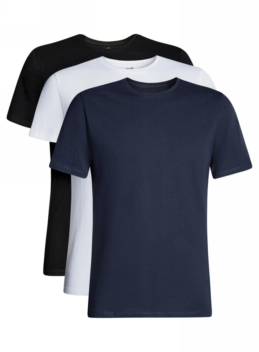Футболка мужская oodji Basic, цвет: черный, белый, темно-синий, 3 шт. 5B621002T3/44135N/1904N. Размер L (52/54)5B621002T3/44135N/1904NМужская футболка oodji Basic изготовлена из высококачественного натурального хлопка. Модель с короткими рукавами и круглым вырезом горловины дополнена эластичной вставкой в цвет изделия по горловине. В комплекте 3 футболки.