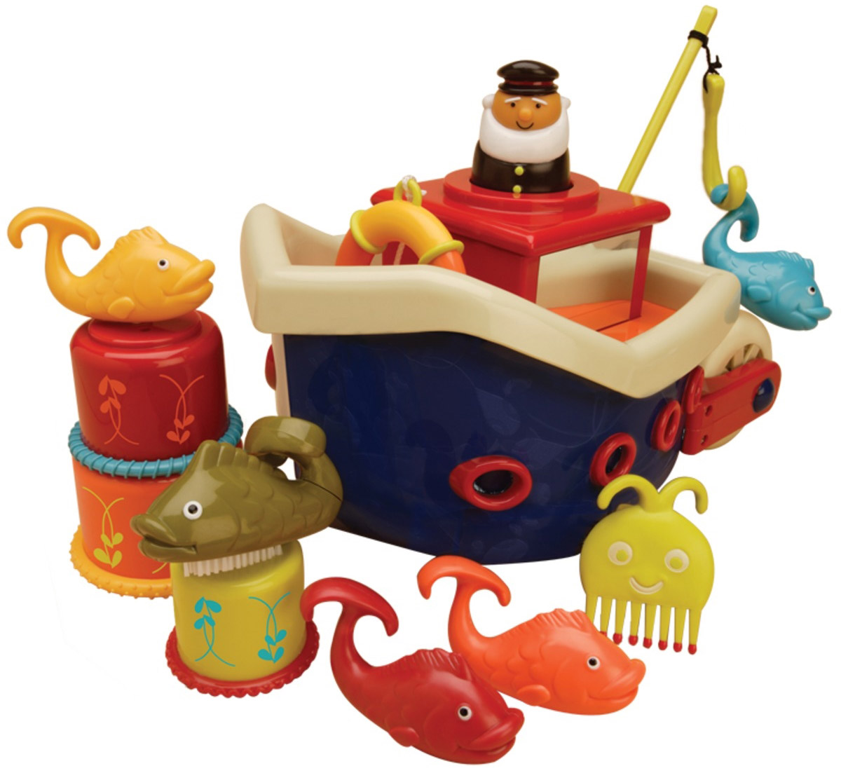 B.Dot Кораблик с игрушками для ванны Fish & Splish