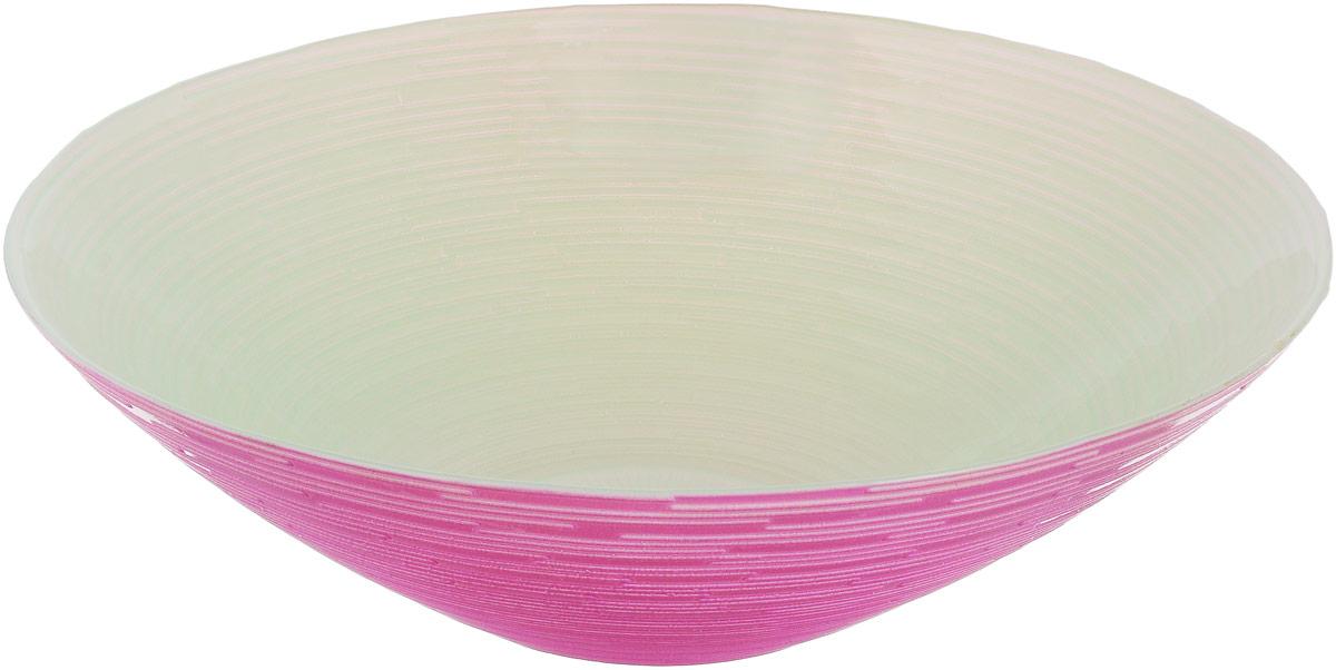 Миска NiNaGlass Риски, цвет: зеленый, розовый, диаметр 25,5 см ваза ninaglass дана цвет шоколад высота 16 см