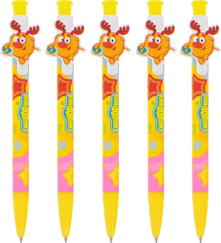 Centrum Ручка шариковая Смешарики Лосяш 5 шт84703_желтыйАвтоматическая шариковая ручка Centrum Смешарики станет незаменимым аксессуаром на детском рабочем столе. Корпус ручки выполнен из пластика. Ручка имеет практичный пластиковый клип для удобной фиксации на бумаге в виде героя из мультфильма Смешарики - Лосяша. Такая ручка - это забавный и практичный подарок, она не потеряется среди бумаг и непременно вызовет улыбку окружающих.