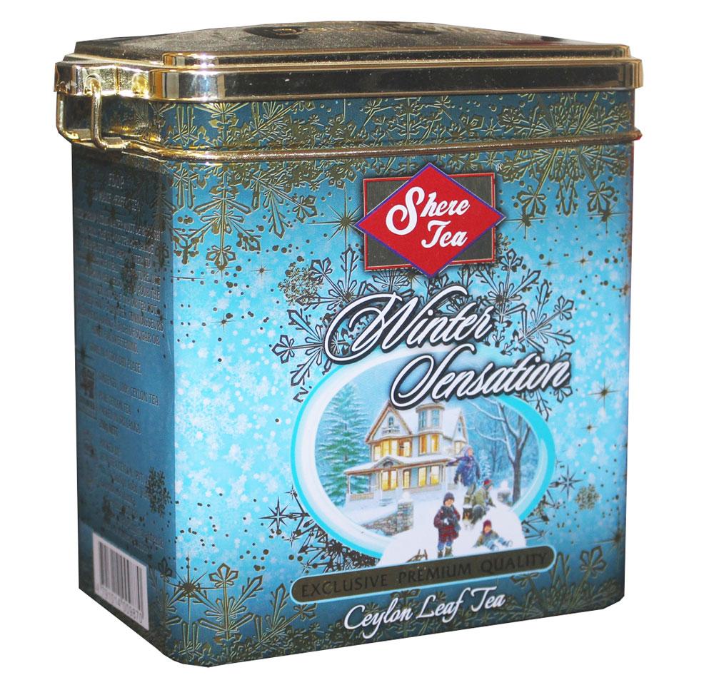 Shere Tea Зимнее настроение чай черный листовой, 250 г4791014009870Чай Зимнее настроение стандарт: FBOP - среднелистовой черный чай. Листья среднего размера, ломанные, хорошо скрученные. Чем более мелкие части листа используются в чае, тем меньше в нем аромата, и такой чай быстрее заваривается, дает более крепкий настой. Чай имеет яркий, прозрачный и интенсивный настой. Вкус полный, терпкий, слегка вяжущий. Аромат чая полный, приятный, выражен достаточно ярко.Знак в виде Льва с 17 пятнышками на шкуре - это гарантия Цейлонского Чайного Бюро на соответствие чая высокому стандарту качества, установленному Правительством и упакованному только в пределах Шри-Ланки.