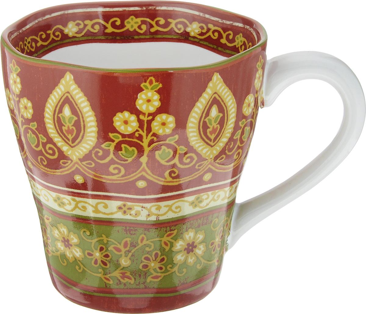 """Кружка Sango Ceramics """"Кашмир"""" изготовлена из высококачественной керамики. Изделие оформлено оригинальным рисунком. Такая кружка создаст атмосферу тепла и уюта, настроит на позитивный лад и подарит хорошее настроение с самого утра. Это оригинальное изделие идеально подойдет в подарок близкому человеку. Можно мыть в посудомоечной машине и использовать в СВЧ.Диаметр (по верхнему краю): 10,5 см.Высота кружки: 10,5 см. Объем: 450 мл."""