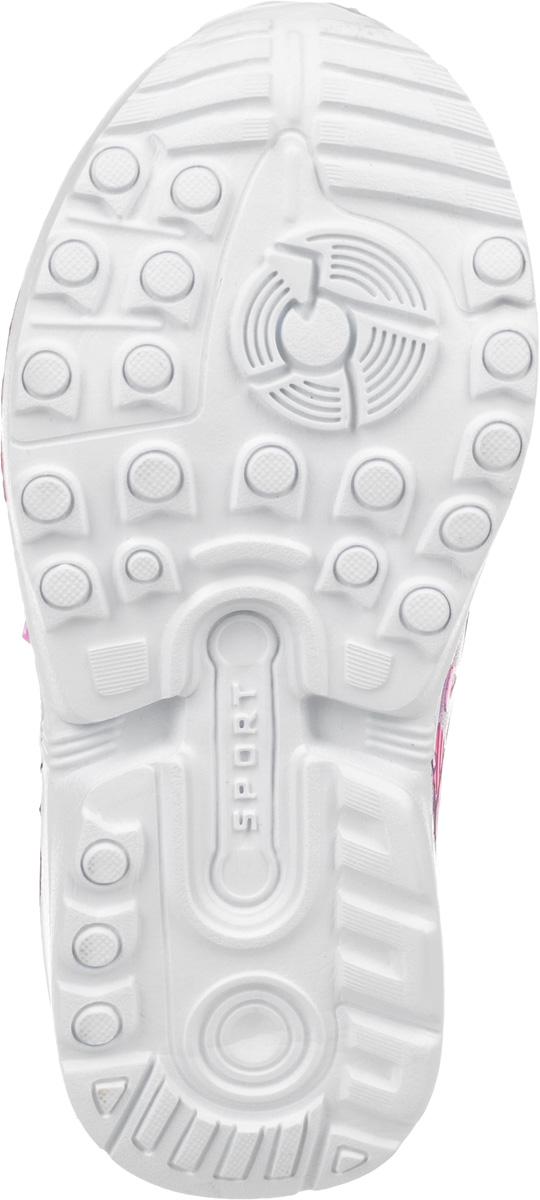 """Удобные кроссовки для девочки от Мифер изготовлены из качественной искусственной кожи. Модель декорирована рельефным тиснением и оригинальным принтом. Резинки на подъеме и ремешок с застежкой-липучкой гарантируют надежную фиксацию модели на ноге. Ремешок декорирован надписью """"Sport"""". Внутренняя поверхность из текстиля обеспечивает комфорт и предотвращает натирание. Стелька выполнена из натуральной кожи и дополнена небольшим супинатором с перфорацией, который обеспечивает правильное положение стопы ребенка при ходьбе и предотвращает плоскостопие. Гибкая и легкая подошва с рифлением гарантирует идеальное сцепление с любой поверхностью."""
