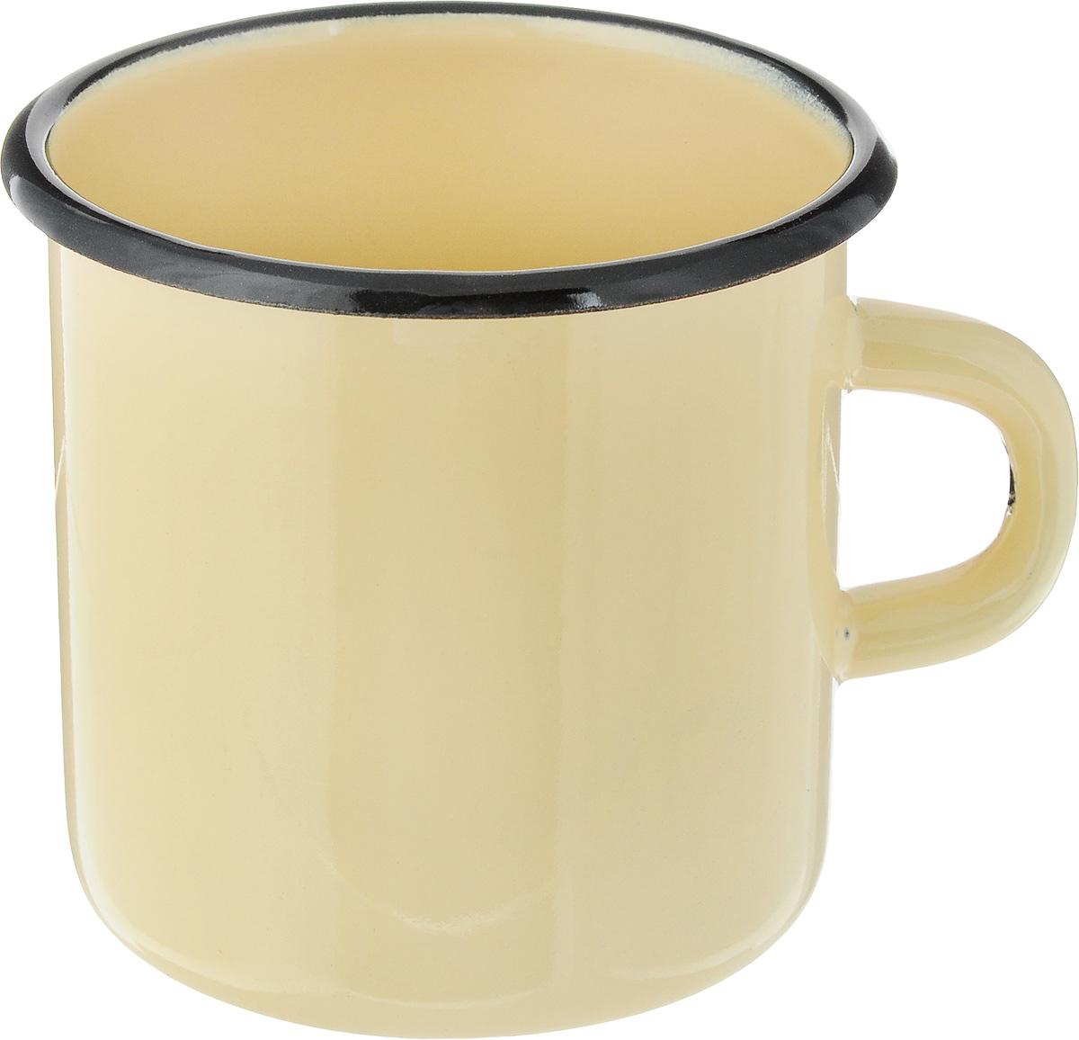 Кружка эмалированная СтальЭмаль, цвет: желтый, 400 мл