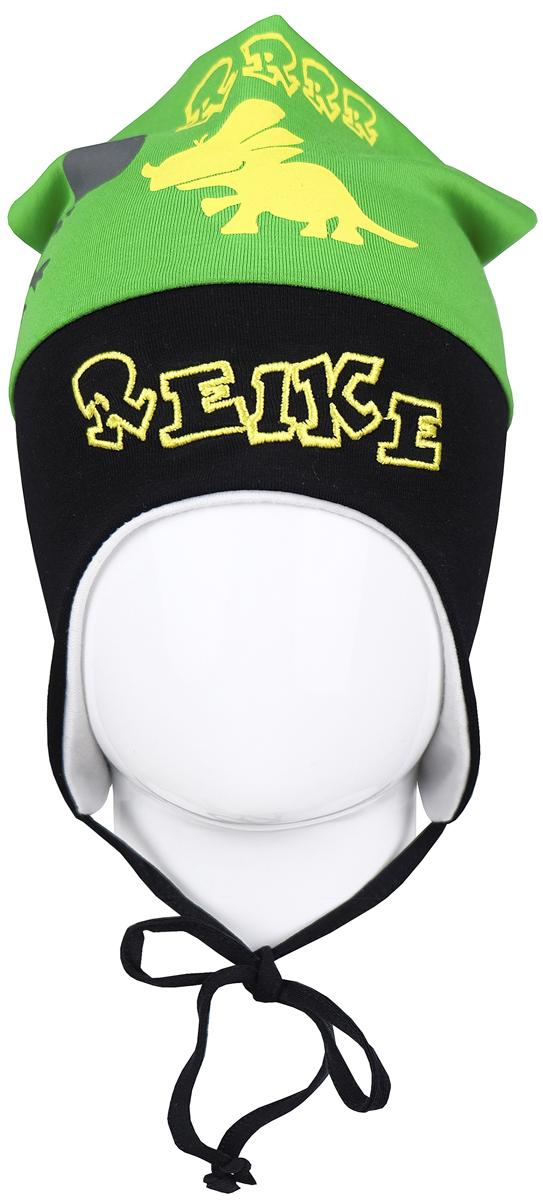Шапка для мальчика Reike Динозаврики, цвет: зеленый . RKNSS17-DIN3. Размер 44RKNSS17-DIN3_greenЯркая двухслойная шапка для мальчикаReike Динозаврики, изготовленная из натурального хлопка, защитит голову ребенка от ветра в прохладную погоду. Модель удлинена, оформлена принтом, вышитым логотипом Reike иусиками на макушке. Изделиес удлиненными боковыми частями фиксируется на голове при помощи завязок.Уважаемые клиенты!Размер, доступный для заказа, является обхватом головы.