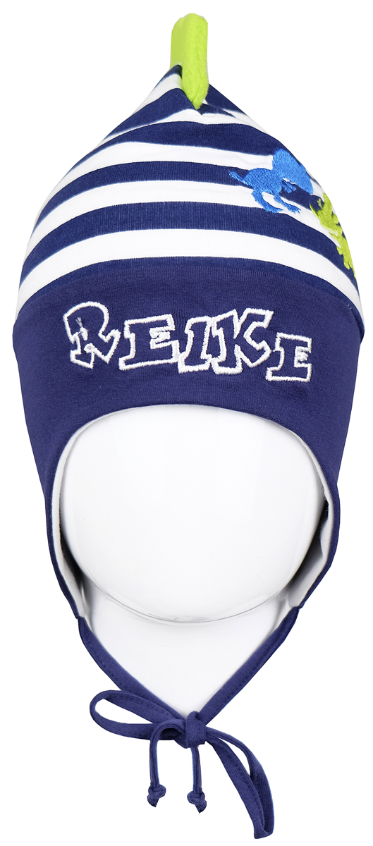Шапка для мальчика Reike Динозаврики, цвет: синий. RKNSS17-DIN5. Размер 46RKNSS17-DIN5_navyЯркая двухслойная шапка для мальчикаReike Динозаврики, изготовленная из натурального хлопка в полоску, защитит голову ребенка от ветра в прохладную погоду. Модель с удлиненными ушками оформлена вышитыми принтом и логотипом Reike и ирокезом из флиса. Изделие фиксируется на голове при помощи завязок.Уважаемые клиенты!Размер, доступный для заказа, является обхватом головы.