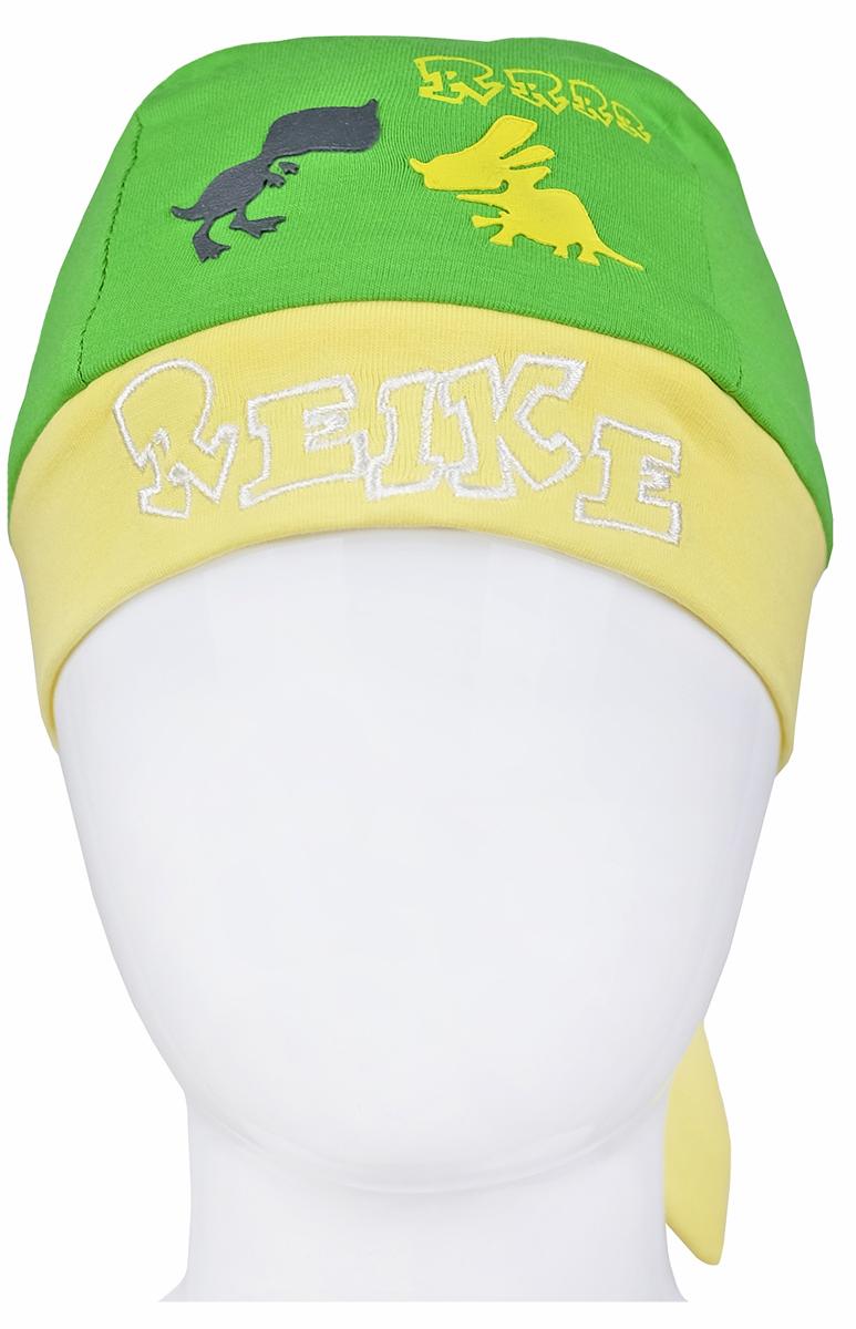 Бандана для мальчика Reike Динозаврики, цвет: зеленый, желтый. RKNSS17-DIN8. Размер 48RKNSS17-DIN8_green/yellowБандана для мальчика Reike Динозаврики, изготовленная из натурального хлопка, станет стильным аксессуаром во время прогулок и игр на свежем воздухе, защищая голову малыша от солнца и ветра. Бандана оформлена принтом в стиле серии и вышитой надписью с названием бренда и фиксируется на голове широкими завязками.Уважаемые клиенты!Размер, доступный для заказа, является обхватом головы.