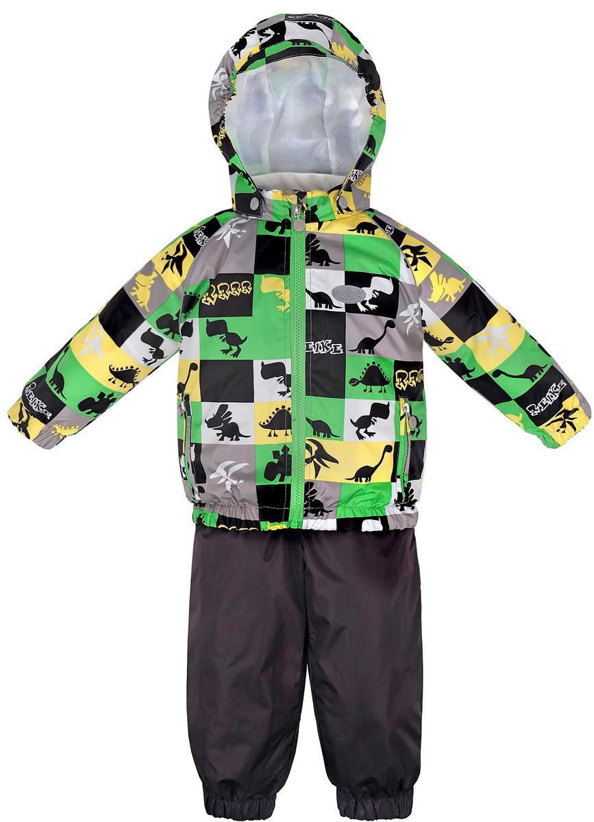 Комплект верхней одежды для мальчика Reike Динозаврики: куртка, полукомбинезон, цвет: светло-серый. 36935115. Размер 98, 3 года36 935 115_Dinos greyКомплект для мальчика Reike Динозаврики, состоящий из куртки и полукомбинезона, выполнен из ветрозащитной, водонепроницаемой и дышащей мембранной ткани, декорированной принтом с забавными зайчиками. Подкладка - натуральный хлопок с велюровыми вставками на воротнике и манжетах. Куртка дополнена съемным капюшоном, двумя карманами на молнии, а также светоотражающими элементами. Внутренняя ветрозащитная планка вдоль молнии не допускает проникновения холодного воздуха. Манжеты рукавов и низ изделия собраны на резинку.Эластичная талия полукомбинезона и регулируемые подтяжки гарантируют удобную посадку по фигуре, длинная молния впереди облегчает процесс одевания. Полукомбинезон оснащен боковым карманом на молнии и съемными штрипками.Особенности комплекта: - утеплитель в куртке 60 г, полукомбинезон без утепления;- базовый уровень;- коэффициент воздухопроницаемости: 2000гр/м2/24 ч;- водоотталкивающее покрытие: 2000 мм.