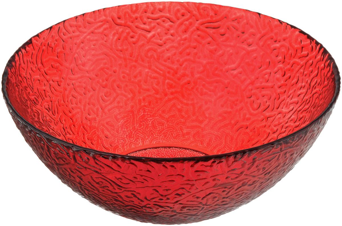 Салатник NiNaGlass Ажур, цвет: рубиновый, диаметр 25 см83-043-Ф250 РУБСалатник NiNaGlass Ажур выполнен из высококачественного стекла и декорирован рельефным узором. Идеален для сервировки салатов, овощей и фруктов, ягод, вторых блюд, гарниров и многого другого. Он отлично подойдет как для повседневных, так и для торжественных случаев.Такой салатник прекрасно впишется в интерьер вашей кухни и станет достойным дополнением к кухонному инвентарю.Диаметр салатника (по верхнему краю): 25 см.Высота стенки: 10,5 см.