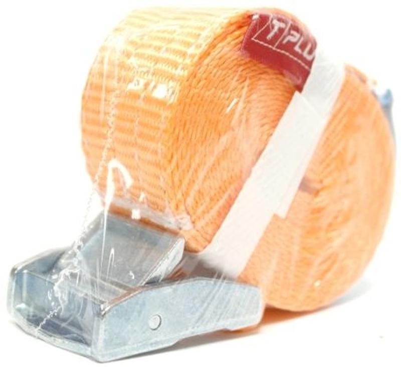 Стяжка для крепления груза Tplus, с фиксатором, 250 кг, 5 мT000835Стяжка Tplus предназначена для фиксации грузов на транспорте. За счет ленты с замком она отлично подходит для крепления грузов, перевозимых даже на дальние расстояния. Предельная рабочая нагрузка (WLL): 250 кг.Длина: 5 м. Ширина ленты: 25 мм. Материал ленты: полиэстер.Замок: сплав цинка.