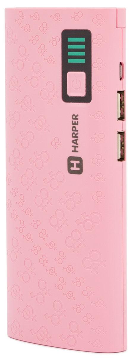 Harper PB-10007, Pink внешний аккумулятор (10000 мАч)H00001312Harper PB-10007 - компактный, удобный, стильный и очень емкий внешний аккумулятор для ваших гаджетов.С Harper PB-10007 емкостью в 10000 мАч вы сможете неоднократно перезарядить практически любой смартфон (даже с аккумулятором повышенной емкости) или другую портативную технику.Пауэрбанк оснащен встроенной защитой от коротких замыканий (устройство отключится автоматически), а также специальным смарт-чипом, который отслеживает ток заряда и выстраивает верный алгоритм подачи собственного тока на потребителей.Два USB порта позволяют осуществить одновременное подключение внешних устройств. А для оптимального потребления порты имеют разные значения силы тока (для более слабых и мощных устройств).Подвижная панель со светодиодами позволяет не только использовать Harper PB-10007 в качестве ручного фонаря, но и подсветить USB-разъемы при подключении гаджетов.Любая индикация, как бы мало она не потребляла тока, разряжает встроенный аккумулятор. Инженеры Harper пошли другим путем, отключив автоматическое отображение уровня оставшегося заряда для его экономии. Процедуру можно запустить простым нажатием на кнопку питания. Шкала представляет собой 4 светодиода, каждый из которых соответствует 25% от общего уровня заряда.