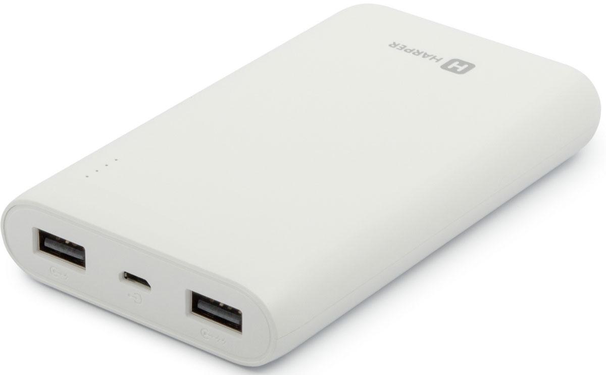 Harper PB-10010, White внешний аккумулятор (10000 мАч)H00001309Если вам нужен простой, практичный и емкий внешний аккумулятор – это Harper PB-10010. Его заряда в 10000 мАч хватит для нескольких полных перезарядок любого топового смартфона, не говоря уже о другой менее энергоемкой портативной технике (плееры, беспроводные наушники, фотоаппараты и другое).Устройство оснащено полноценной защитой от коротких замыканий (питание будет автоматически отключено), удобной индикацией уровня оставшегося заряда внутреннего аккумулятора (полоса из четырех светодиодных индикаторов, каждый из которых обозначает 25% от общего объема), а также имеет сразу два активных USB-порта (одновременно могут быть подключены два устройства).SMART-чип (умная микросхема) следит за каждым процессом заряда и делает его максимально эффективным.Несмотря на серьезную емкость, Harper PB-10010 имеет компактные габариты, небольшой вес и удобную форму корпуса, что позволяет без труда носить его в сумках, рюкзаках и даже карманах.