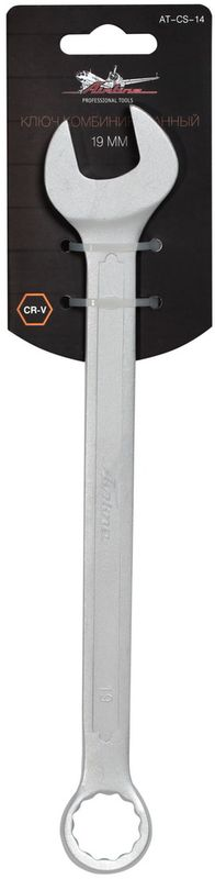 Ключ гаечный комбинированный Airline, 19 ммAT-CS-14Ключ гаечный комбинированный Airline изготовлен из высококачественной хром-ванадиевой стали. Тело ключа изготовлено методом горячей ковки, что придает ему высокую прочность и долговечность. Финишное прочное хромированное покрытие защищает ключ от воздействия коррозии, делает его более износостойким и легко очищается от загрязнений. Продуманный профиль накидной части ключа смещает пятно контакта с ребра грани на ее поверхность, что предотвращает повреждение болтов и гаек даже при самых высоких нагрузках. Эргономичный профиль рукоятки ключа позволяет развивать большее усилие без риска повреждения кистей рук. Встроенный прочный трещоточный механизм значительно повышает производительность труда и снижает нагрузки на организм. Твердость: 45-47 HRC.Диаметр головки: 19 мм.