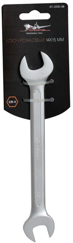 Ключ гаечный рожковый Airline, 14 х 15 ммAT-DOS-09Ключ гаечный рожковый Airline изготовлен из высококачественной хром-ванадиевой стали. Тело ключа изготовлено методом горячей ковки, что придает ему высокую прочность и долговечность. Финишное прочное хромированное покрытие защищает ключ от воздействия коррозии, делает его более износостойким и легко очищается от загрязнений. Продуманный профиль накидной части ключа смещает пятно контакта с ребра грани на ее поверхность, что предотвращает повреждение болтов и гаек даже при самых высоких нагрузках. Эргономичный профиль рукоятки ключа позволяет развивать большее усилие без риска повреждения кистей рук. Встроенный прочный трещоточный механизм значительно повышает производительность труда и снижает нагрузки на организм.