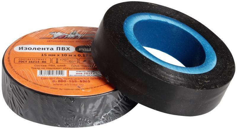 Изолента Airline, цвет: черный, 15 мм х 10 мAIT-P- 01Изоляционная лента Airline выполнена из ПВХ и представляет собой расходный материал, предназначенный для обмотки проводов и кабелей с целью их электроизоляции.Изолента изготавливается из поливинилхлоридной пленки с нанесенным на нее клеевым слоем и полностью соответствует ГОСТу. Также изолента имеет высокую силу адгезииНапряжение пробоя: 5000V. Длина ленты: 10 м. Ширина ленты: 15 мм.