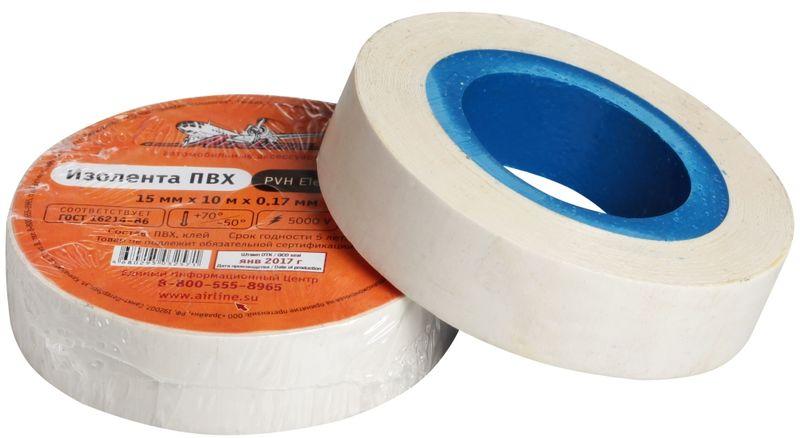 Изолента Airline, цвет: белый, 15 мм х 10 мAIT-P- 04Изоляционная лента Airline выполнена из ПВХ и представляет собой расходный материал, предназначенный для обмотки проводов и кабелей с целью их электроизоляции. Изолента изготавливается из поливинилхлоридной пленки с нанесенным на нее клеевым слоем и полностью соответствует ГОСТу. Также изолента имеет высокую силу адгезииНапряжение пробоя: 5000V.Длина ленты: 10 м.Ширина ленты: 15 мм.