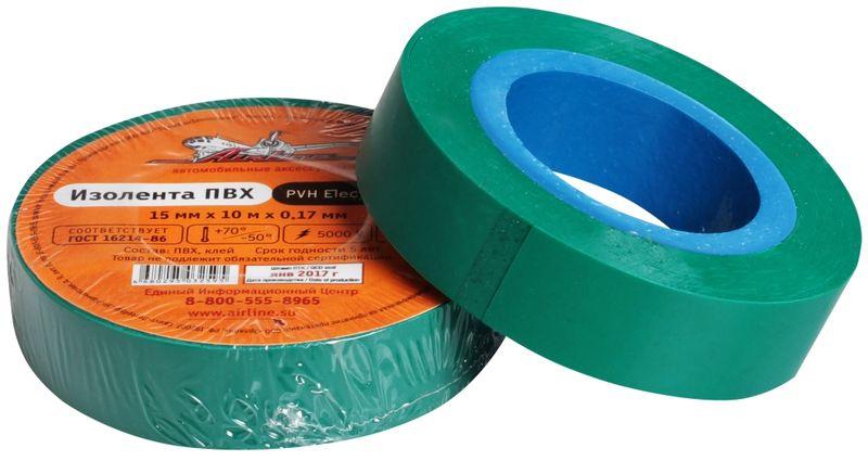 Изолента Airline, цвет: зеленый, 15 мм х 10 мAIT-P- 05Изоляционная лента Airline выполнена из ПВХ и представляет собой расходный материал, предназначенный для обмотки проводов и кабелей с целью их электроизоляции. Изолента изготавливается из поливинилхлоридной пленки с нанесенным на нее клеевым слоем и полностью соответствует ГОСТу. Также изолента имеет высокую силу адгезииНапряжение пробоя: 5000V.Длина ленты: 10 м.Ширина ленты: 15 мм.