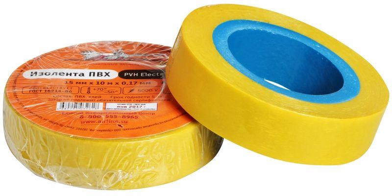 Изолента Airline, цвет: желтый, 15 мм х 10 мAIT-P- 06Изоляционная лента Airline выполнена из ПВХ и представляет собой расходный материал, предназначенный для обмотки проводов и кабелей с целью их электроизоляции. Изолента изготавливается из поливинилхлоридной пленки с нанесенным на нее клеевым слоем и полностью соответствует ГОСТу. Также изолента имеет высокую силу адгезииНапряжение пробоя: 5000V.Длина ленты: 10 м.Ширина ленты: 15 мм.