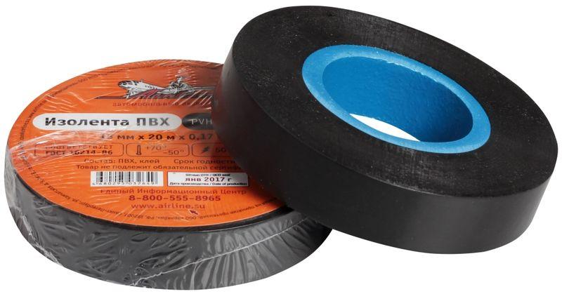 Изолента Airline, цвет: черный, 15 мм х 20 мAIT-P- 08Изоляционная лента ПВХ, которая представлена в широком ассортименте, различается по цветам, ширине ленты и длине намотки. Изолента представляет собой расходный материал, предназначенный для обмотки проводов и кабелей с целью их электроизоляции. Изолента AIRLINE изготавливается из поливинилхлоридной пленки с нанесенным на нее клеевым слоем и полностью соответствует ГОСТу-16214-86.Преимущества:- соответствует ГОСТу;- высший сорт;- высокая сила адгезииДлина ленты (м) - 20 Напряжение пробоя - 5000V Ширина ленты (мм) - 15