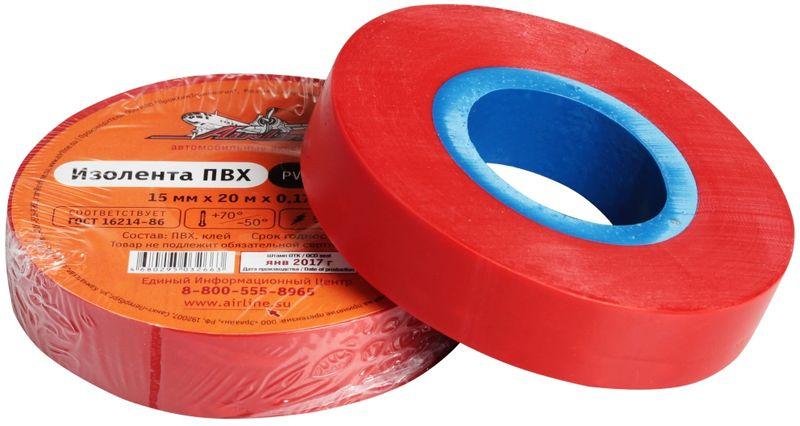 Изолента Airline, цвет: красный, 15 мм х 20 мAIT-P- 09Изоляционная лента ПВХ, которая представлена в широком ассортименте, различается по цветам, ширине ленты и длине намотки. Изолента представляет собой расходный материал, предназначенный для обмотки проводов и кабелей с целью их электроизоляции. Изолента AIRLINE изготавливается из поливинилхлоридной пленки с нанесенным на нее клеевым слоем и полностью соответствует ГОСТу-16214-86.Преимущества:- соответствует ГОСТу;- высший сорт;- высокая сила адгезииДлина ленты (м) - 20 Напряжение пробоя - 5000V Ширина ленты (мм) - 15