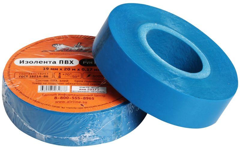Изолента Airline, цвет: синий, 19 мм х 20 мAIT-P- 20Изоляционная лента ПВХ, которая представлена в широком ассортименте, различается по цветам, ширине ленты и длине намотки. Изолента представляет собой расходный материал, предназначенный для обмотки проводов и кабелей с целью их электроизоляции. Изолента AIRLINE изготавливается из поливинилхлоридной пленки с нанесенным на нее клеевым слоем и полностью соответствует ГОСТу-16214-86.Преимущества:- соответствует ГОСТу;- высший сорт;- высокая сила адгезииДлина ленты (м) - 20 Напряжение пробоя - 5000V Ширина ленты (мм) - 19