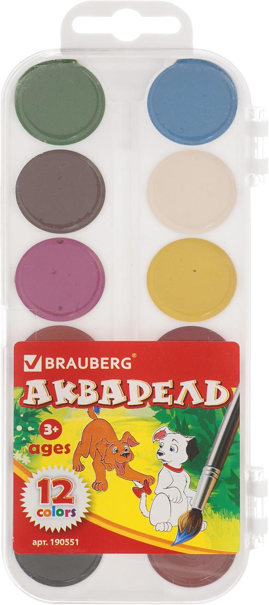 Brauberg Краски акварельные медовые 12 цветов190551Акварель Brauberg предназначена для детского творчества и различных художественных работ.Краски акварельные медовые полусухие Brauberg имеют яркие насыщенные цвета, дают множество оттенков при смешивании и обеспечивают однородное окрашивание. Акварель легко разбавляется водой и быстро сохнет. Коробка обладает компактными размерами и легким весом., также в ней есть место для хранения кисти.Не содержат токсичных веществ, полностью безопасны для детей.