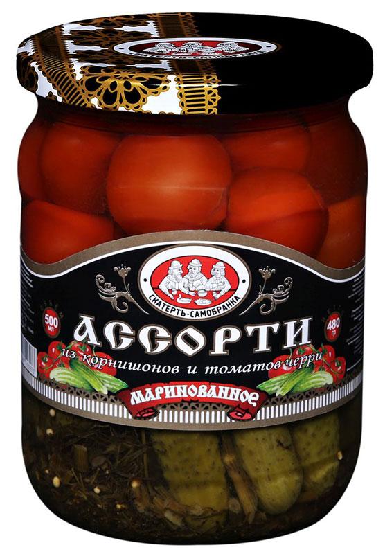 Скатерть-Самобранка ассорти корнишоны и черри, 500 мл4607067553973Маринованное ассорти из корнишонов и томатов черри с зеленью.