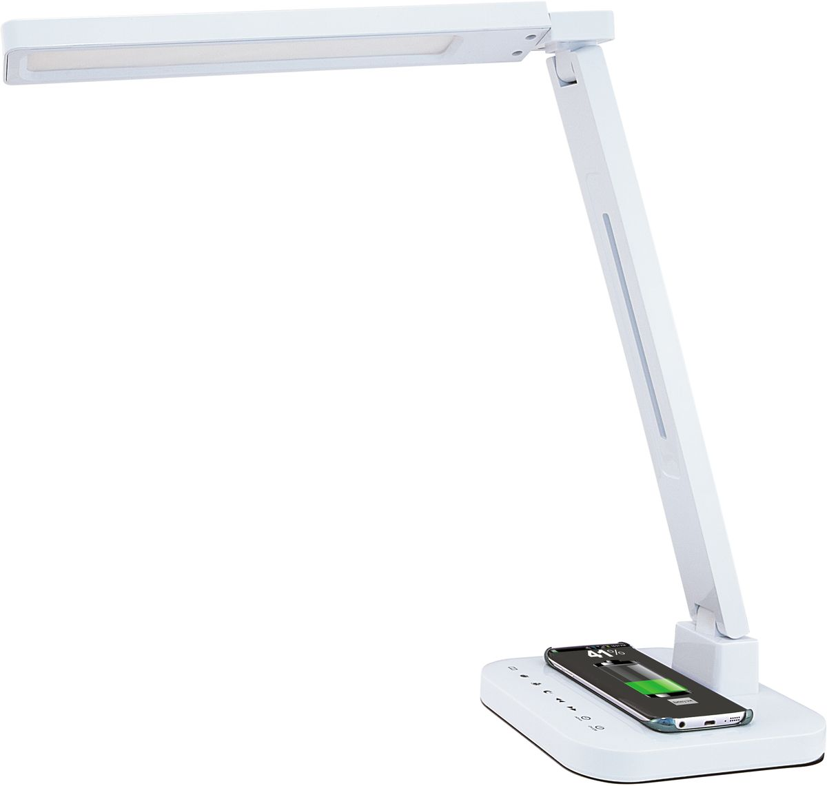 Лампа настольная Лючия Smart Qi, светодиодная, цвет: белый, 15W. L9004606400105459Настольный светильник. Предназначен для местного освещения внутри помещений. Напряжение сети 230 В, частота 50 Гц. Цветопередача Ra > 90. Источник света: SMD светодиоды, 48 шт.– Беспроводная зарядка Qi. – USB-разъем для подзарядки 5 В 2 А. – Cенсорное управление. – 4 режима. Цветовая температура света в диапазоне от 2700 до 6600 К. – Дискретное изменение яркости свечения (5 уровней). – Запоминание выбранного уровня яркости в каждом режиме.Кнопка: режим чтениеКнопка: режим учебаКнопка: режим релаксацияКнопка: режим сонКнопка: уменьшение яркостиКнопка: увеличение яркостиКнопка: таймер на 60 минКнопка: включение/ выключениеРазъем для адаптера для сети 230 В