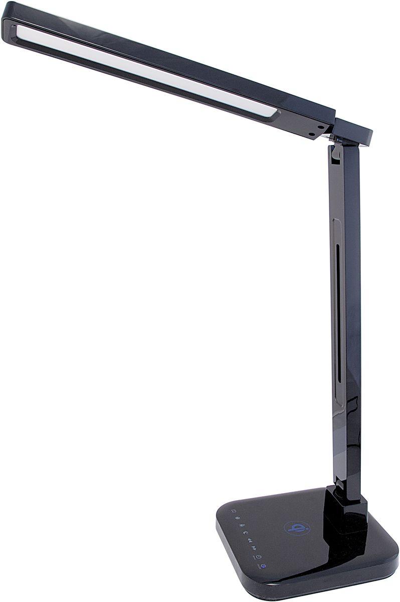 Лампа настольная Лючия Smart Qi, светодиодная, цвет: черный, 15W. L9004606400105466Настольный светильник. Предназначен для местного освещения внутри помещений. Напряжение сети 230 В, частота 50 Гц. Цветопередача Ra > 90. Источник света: SMD светодиоды, 48 шт.- Беспроводная зарядка Qi. - USB-разъем для подзарядки 5 В 2 А. - Cенсорное управление. - 4 режима. Цветовая температура света в диапазоне от 2700 до 6600 К. - Дискретное изменение яркости свечения (5 уровней). - Запоминание выбранного уровня яркости в каждом режиме.Кнопка: режим чтениеКнопка: режим учебаКнопка: режим релаксацияКнопка: режим сонКнопка: уменьшение яркостиКнопка: увеличение яркостиКнопка: таймер на 60 минКнопка: включение/ выключениеРазъем для адаптера для сети 230 В