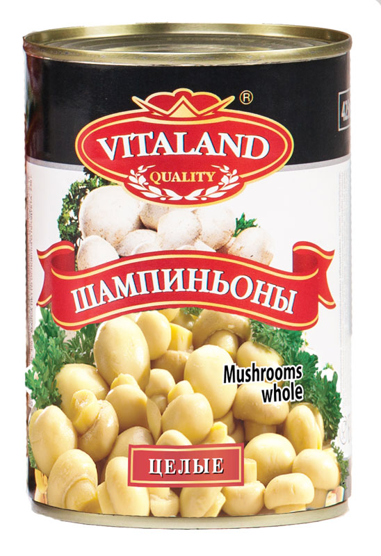 Vitaland шампиньоны целые, 425 мл vitaland ананасы кусочки 850 мл
