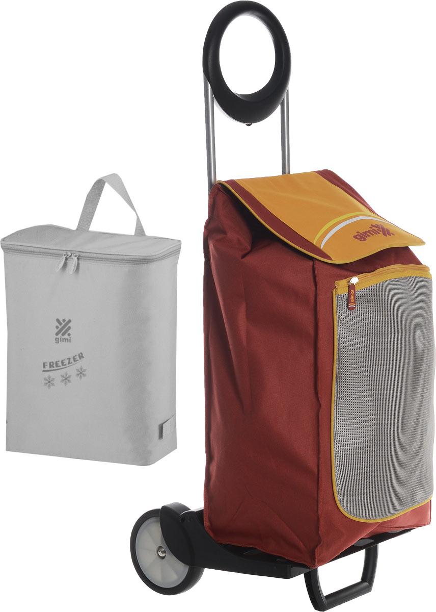 Сумка-тележка Gimi Family, цвет: серый, темно-красный, желтый, 48 л1579584704113_серый, красный, желтыйХозяйственная сумка-тележка Gimi Family выполнена из высококачественного полиэстера со стальным каркасом. Она оснащена одним вместительным отделением, закрывающимся на липучки. Снаружи имеются карман на застежке-молнии и подставка для зонтика. Сумка водоустойчива, оснащена парой колес, которые обеспечивают удобство транспортировки. Без сумки изделие превращается в универсальную тележку с крючками для фиксации ящиков.В комплект входит термосумка вместимостью 10 литров. Максимальная нагрузка: 30 кг.