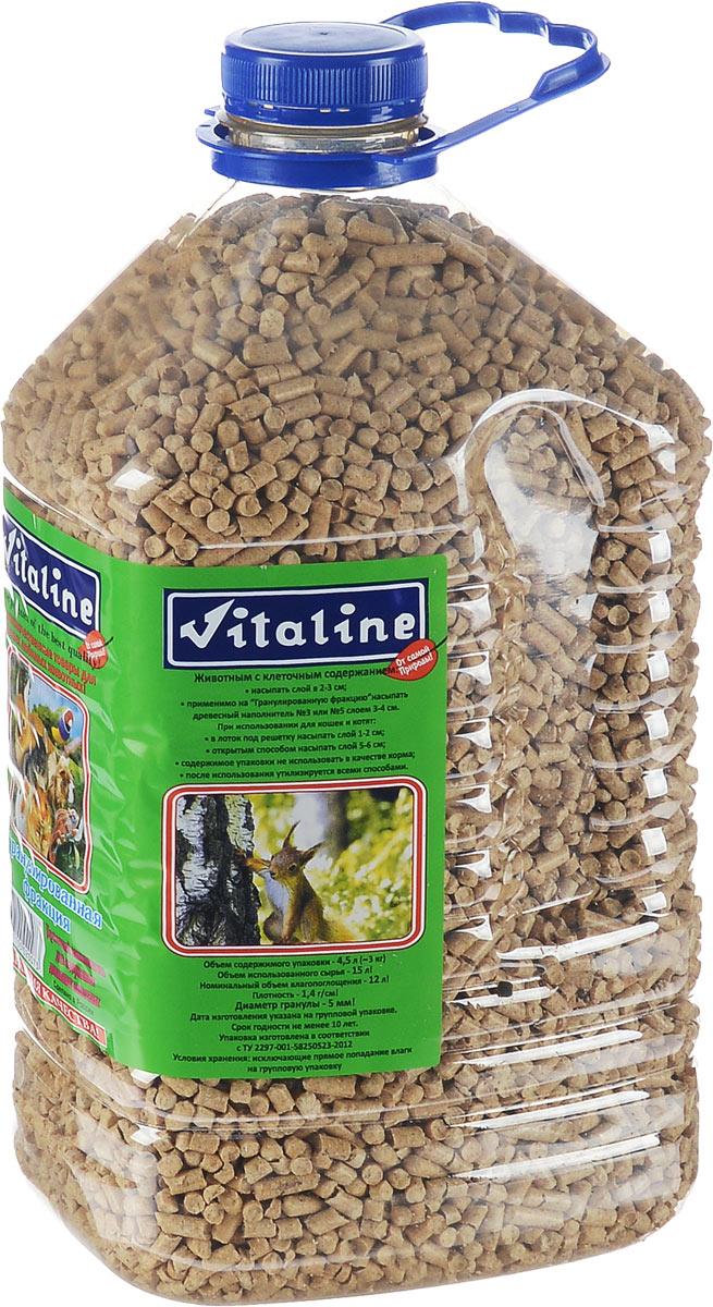 Наполнитель для кошек Vitaline Гранулированная фракция, древесный, 3 кг335Эффективный древесный наполнитель для содержания грызунов, пушных зверей, семейства кошачьих, птиц, рептилий и животных с домашним и вольерным содержанием. Изготовлен на эксклюзивном оборудовании из измельчённого массива древесины хвойных пород по уникальной технологии, благодаря чему достигается высокое качество наполнителя.Рекомендации к применению:Для животным с клеточным содержанием: - насыпать слой в 2-3 см - Также можно на Гранулированную фракцию  насыпать древесный наполнитель № 3 (средняя фракция) или № 5 (крупная фракция) слоем в 3-4 см. При использовании для кошек и котят: - насыпать под решётку слоем 1-2 см - открытым способом 3-5 см Использованный наполнитель не требует особых условий утилизации. Содержимое упаковки не применять в качестве корма.