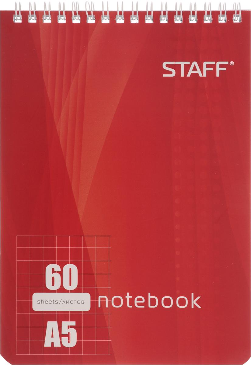 Staff Блокнот 60 листов в клетку цвет красный126539Блокнот Staff - незаменимый атрибут современного человека, необходимый для рабочих и повседневных записей в офисе и дома.Тыльная часть блокнота имеет жесткую заднюю обложку, позволяющую делать записи на весу. Стандартная линовка в голубую клетку без полей.
