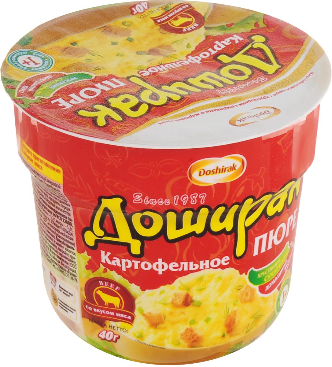 Doshirak пюре картофельное быстрого приготовления со вкусом мяса, в стакане, 40 г4607065580278Картофельное пюре быстрого приготовления залить кипятком до нижнего ободка, тщательно перемешать, закрыть крышкой и подождать 5 минут. Еще раз тщательно перемешать. Пюре готово! Приятного аппетита!
