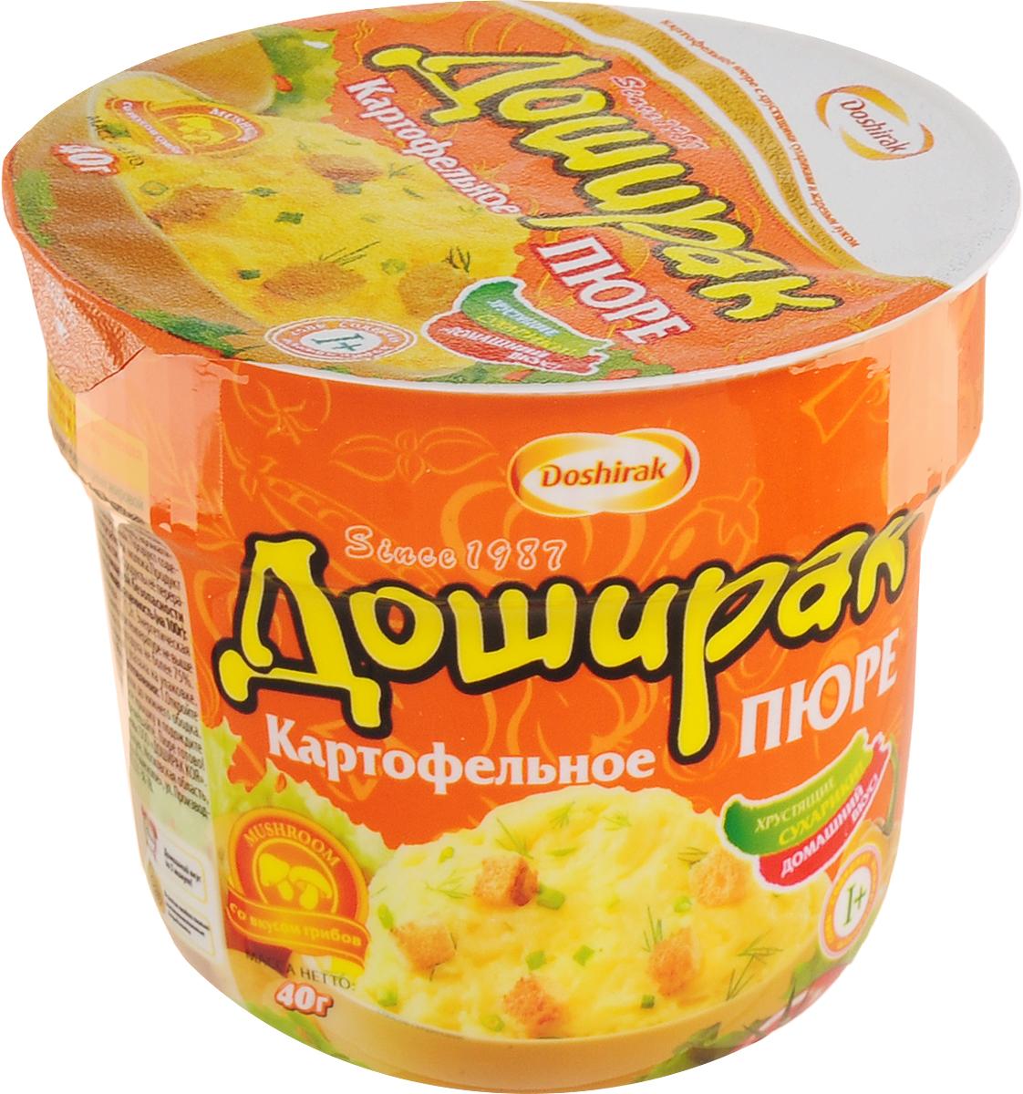 Doshirak пюре картофельное быстрого приготовления со вкусом грибов, в стакане, 40 г еда быстрого приготовления