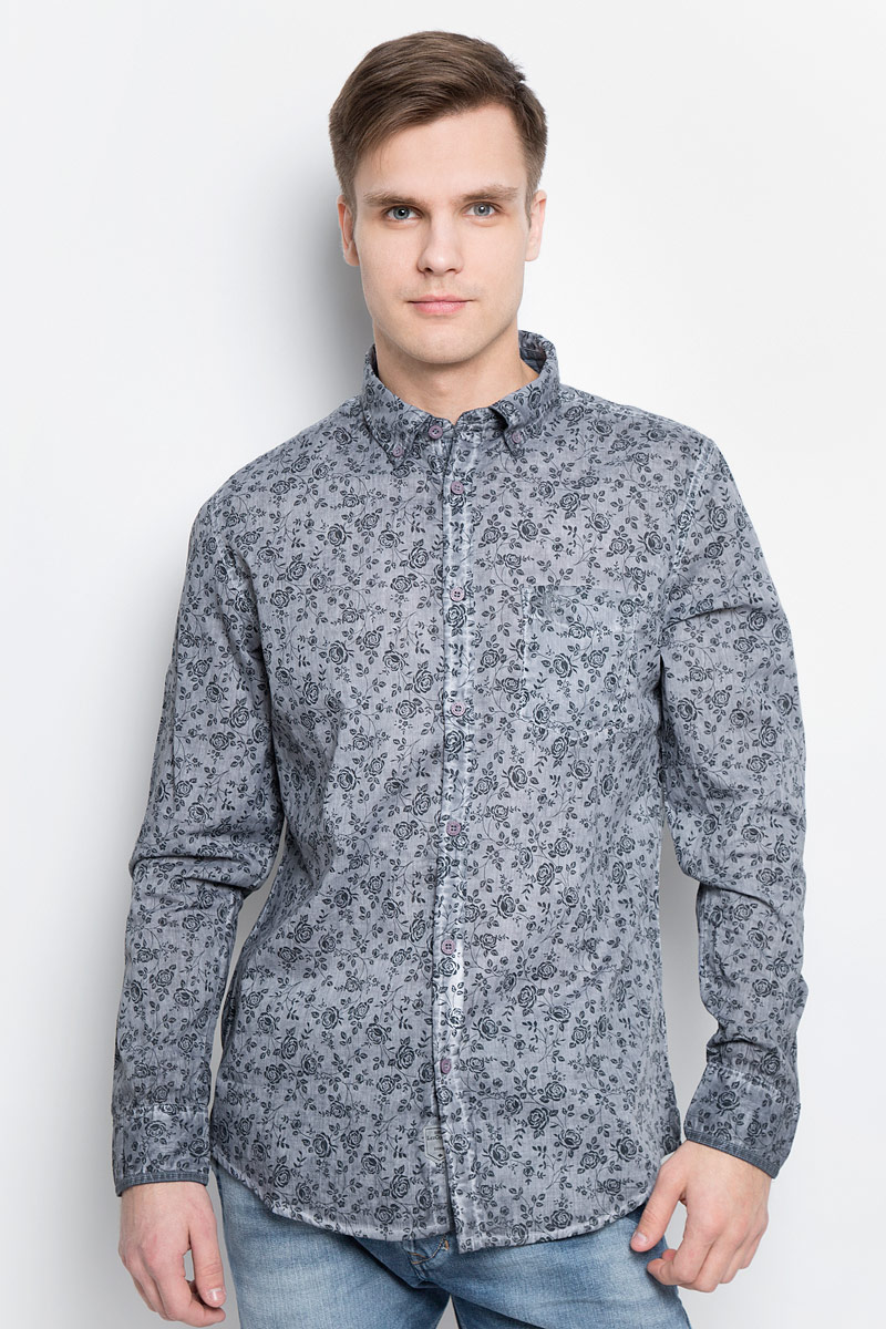 Рубашка мужская Lee Cooper, цвет: серый. DARWIN-5601. Размер XL (54) рубашка мужская lee cooper цвет серый lchmw044 размер xl 52
