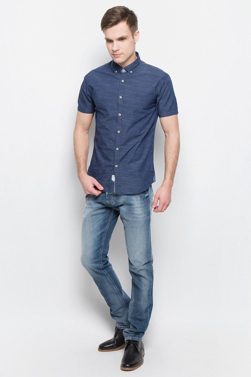 Рубашка мужская Lee Cooper, цвет: синий. DEUS-5587. Размер XL (54) рубашка мужская lee cooper цвет темно зеленый lchmw044 размер xxl 54