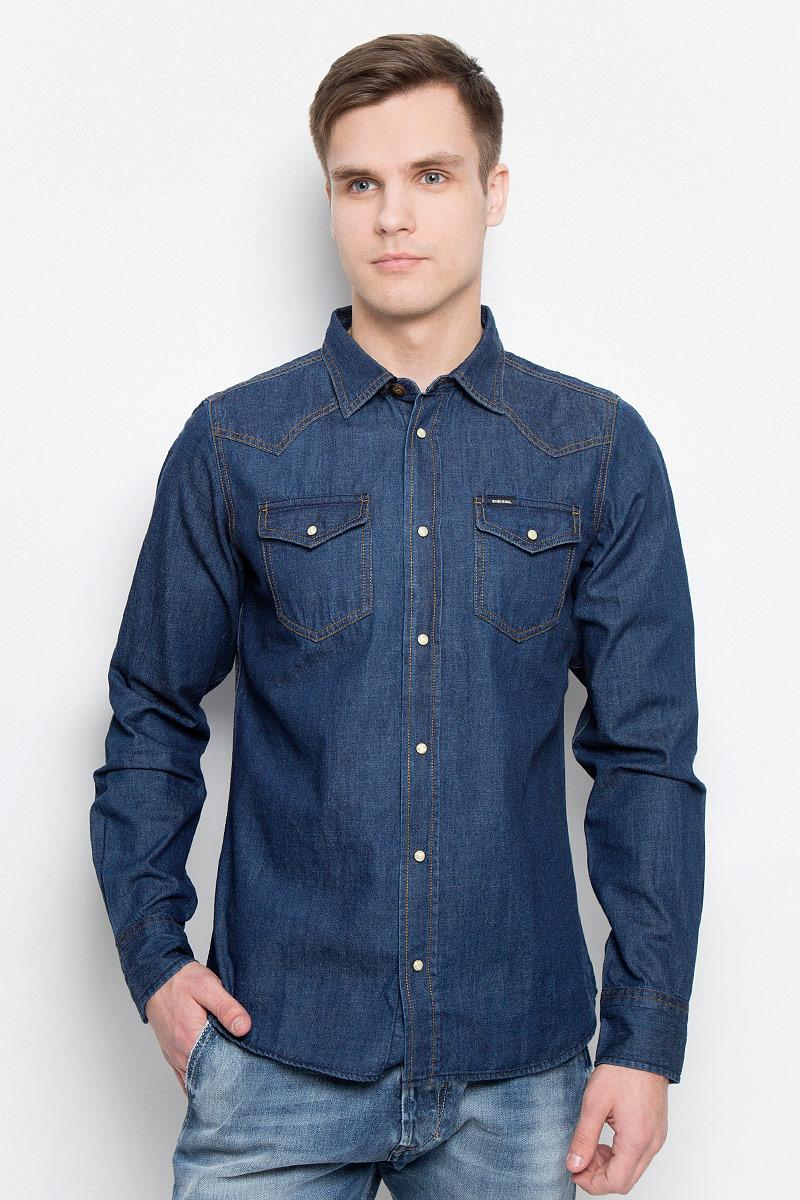 Рубашка мужская Diesel, цвет: синий. 00SS2T-0KANX/01. Размер XXL (56) футболка мужская diesel 0421807741482 sakb2298