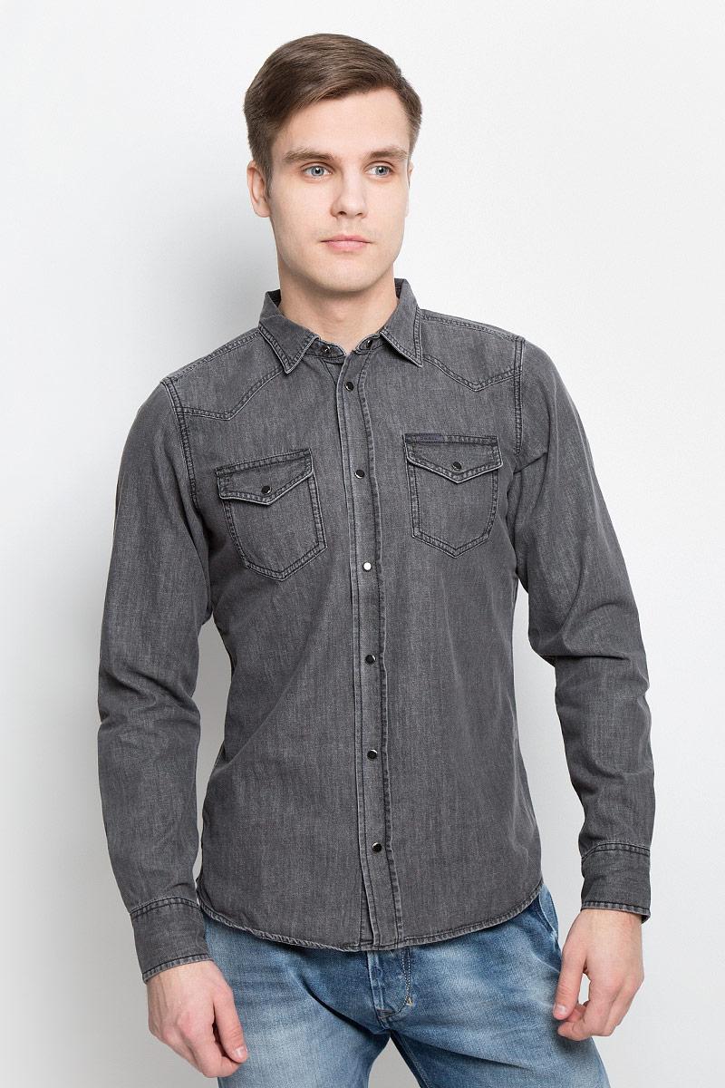 Рубашка мужская Diesel, цвет: серый. 00SS2T-0KANY/02. Размер XXL (56) футболка мужская diesel 0421807741482 sakb2298