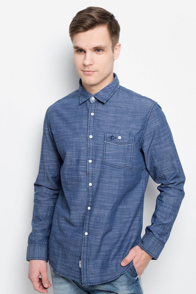 Рубашка мужская Lee Cooper, цвет: темно-синий. DEREK-5645. Размер XL (54) рубашка мужская lee cooper цвет серый lchmw044 размер xl 52